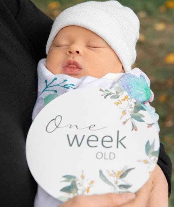 Cherubic perfection: To celebrate one week since Grace's arrival, the proud parents shared this breathtaking new photo of their baby girl.