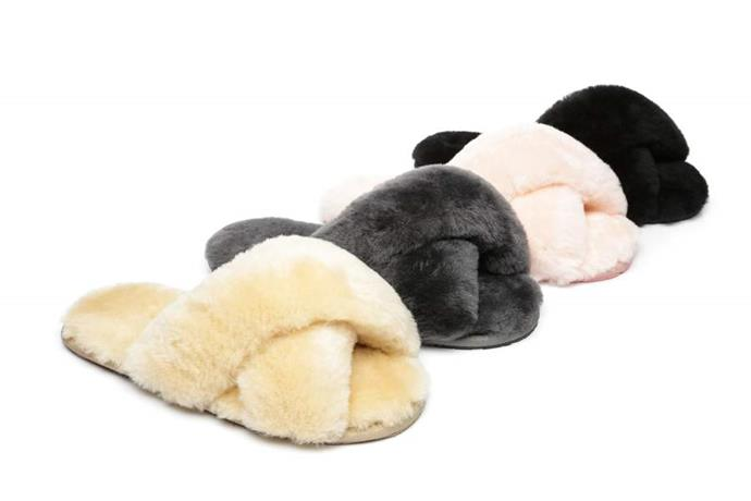 """Is there truly anything better than sliding into a pair of fluffy slippers after a long day? We tend to think not, which is why we're *pretty* sure Mum will love a pair of Ugg's iconic fluffy crossover slippers to see her through winter. $55 (on sale), **[buy a pair online here](https://uggexpress.com.au/products/ugg-fluff-slide-linty?variant=31876205510714