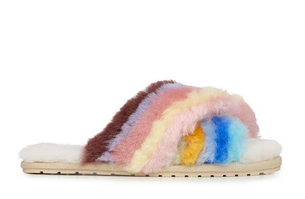 """Or if you're after a pop of colour, EMU has your back with these gorgeous rainbow slippers. Made with premium Australian sheepskin, Mum will get that clouds-on-your-feet-feel with these. $59.95, **[buy them online here](https://www.emuaustralia.com.au/all-footwear/mayberry-rainbow/W12475.html?dwvar_W12475_colourName=MULTI