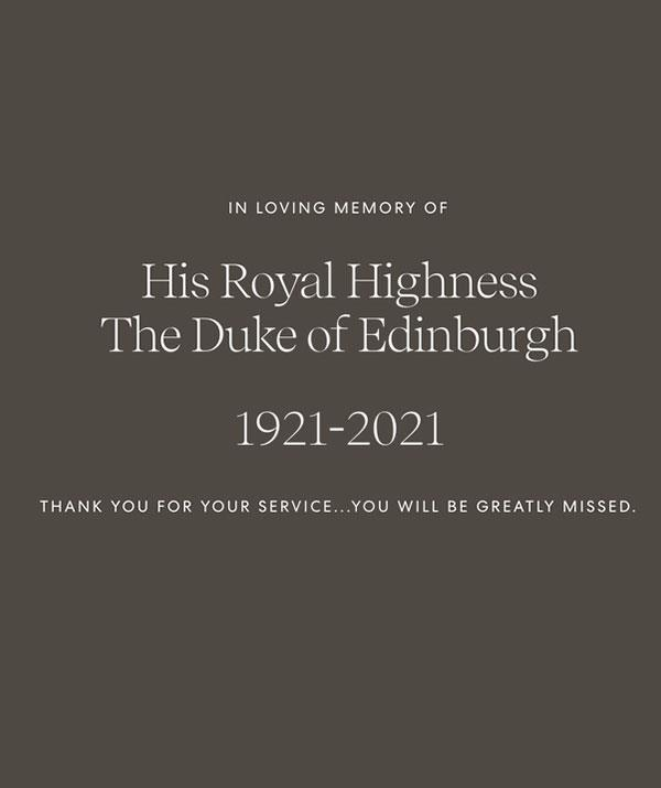 Prince Harry and Duchess Meghan published this touching tribute to Prince Philip on their Archwell website.