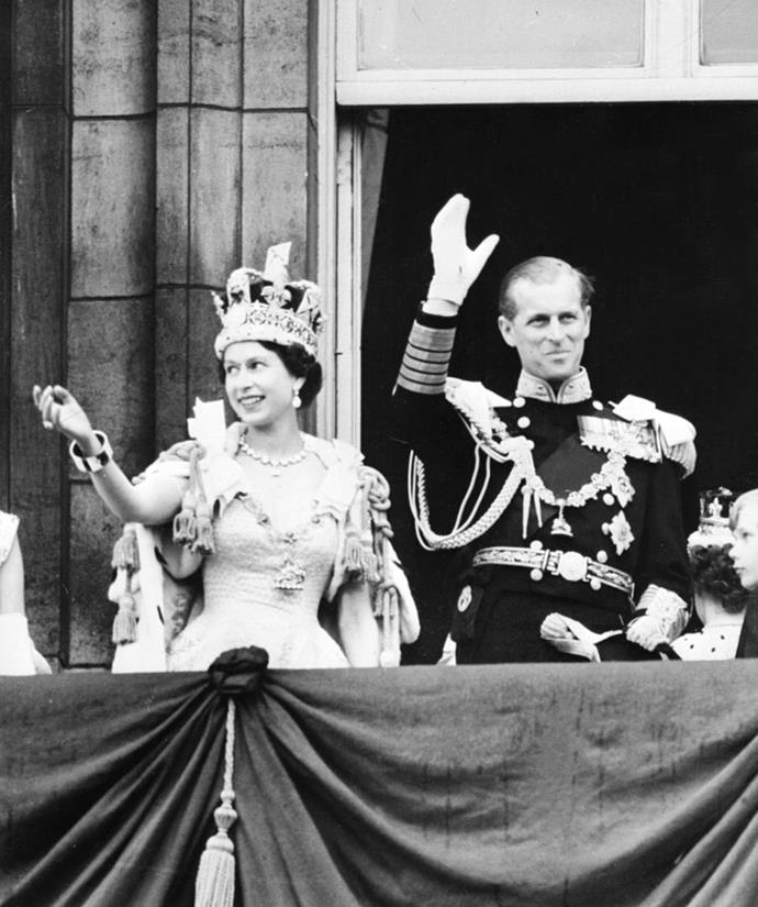 The Queen at her coronation, with Price Philip by her side, in 1952.