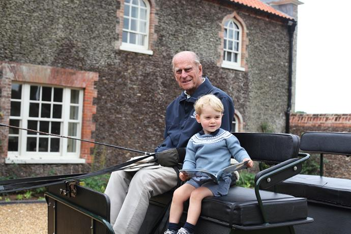 William shared this gorgeous photo of his son and grandfather, taken by his wife Duchess Catherine.