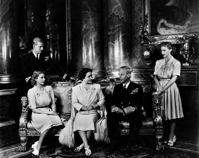 Philip and Elizabeth properly met when the future Queen was 13 and Philip was 18. The pair began exchanging letters and in 1946, Philip asked Elizabeth to marry him. Here, the young royals are pictured with the then King of England.
