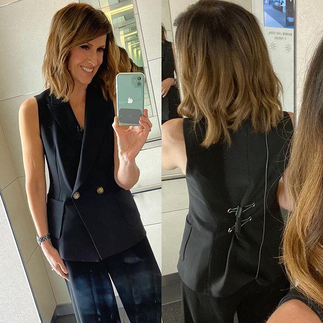 """A Zara vest fitted to perfection... with a handy little tweak. """"TV v Real life!"""" Natalie shared with her followers. Shop the style online below (bulldog clips optional...)."""