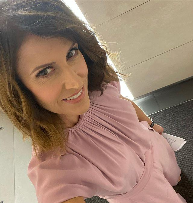 Natalie set the ball rolling in this gorgeous pink ensemble - yes it's a top and pants! The Bianca Spender designs are the perfect muted hue to liven up a chilly Autumnal morning.