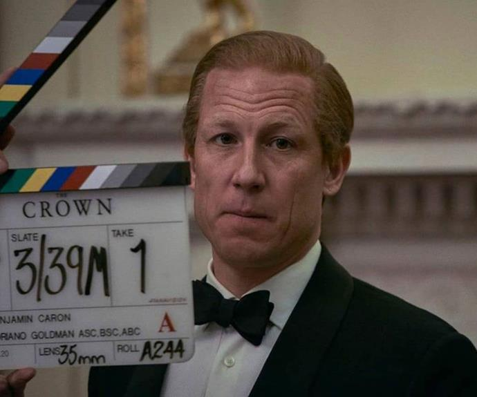 Tobias Menzies whilst filming *The Crown*.