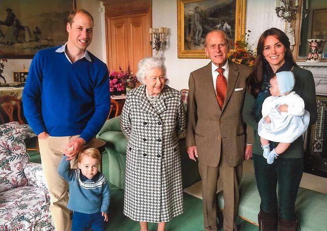 Kate and William joined The Queen and Philip with their two eldest kids at Balmoral Castle in this snap.