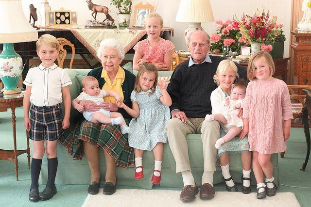 The Queen and Philip are surrounded by their great-grandchildren in this gorgeous snap.
