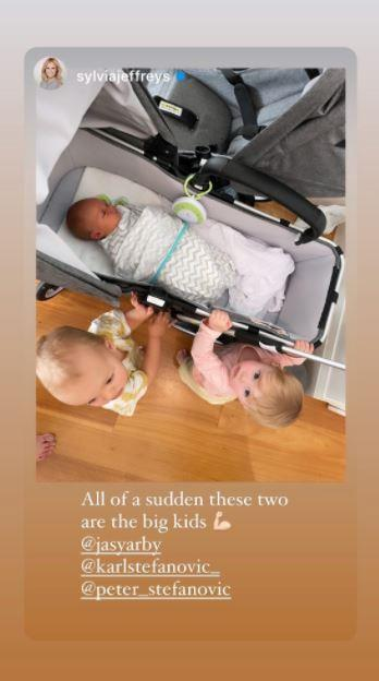 Sylvia's eldest Oscar is settling into the role of big brother, and cousin Harper, who is the daughter of Karl and Jasmine Stefanovic is just as thrilled with a new playmate.