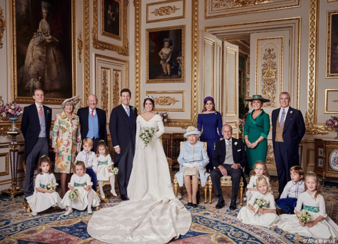 History in the making: Prince Philip and Fergie were pictured for the first time in over two decades when they posed together for Princess Eugenie's wedding portrait in 2018.