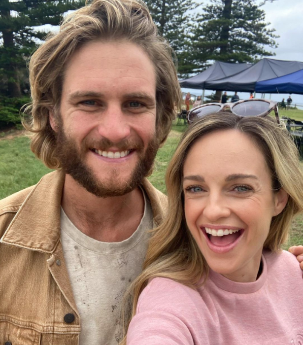 Penny also recently shared a snap with George from set.