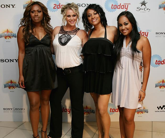 Paulini, Kate, Emily and Jess step out at a 2Day FM party at Star City in Sydney, 2008.