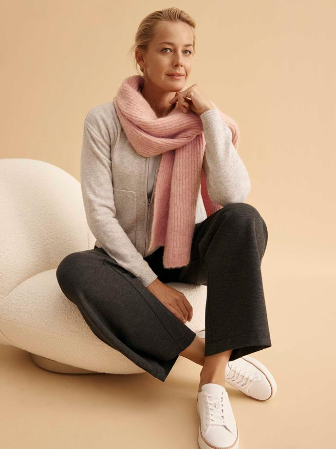 "[Wool yak hoodie](https://www.trenery.com.au/wool-yak-hoodie-60264232-9180?utm_source=DV360&utm_medium=Display&campaign=%20AreContentPartnership|target=""_blank""|rel=""nofollow""), $179; [Cotton rib long sleeve t-shirt](https://www.trenery.com.au/cotton-rib-long-sleeve-t-shirt-60264894-1095?utm_source=DV360&utm_medium=Display&campaign=%20AreContentPartnership|target=""_blank""|rel=""nofollow""), $59.95; [Ponte wide leg relaxed pant](https://www.trenery.com.au/ponte-wide-leg-relaxed-pant-60264404-9255?utm_source=DV360&utm_medium=Display&campaign=%20AreContentPartnership|target=""_blank""|rel=""nofollow""), $119; [Emma sneaker](https://www.trenery.com.au/emma-sneaker-60255765-100?utm_source=DV360&utm_medium=Display&campaign=%20AreContentPartnership|target=""_blank""|rel=""nofollow""), $139; [Rhian alpaca scarf](https://www.trenery.com.au/rhian-alpaca-scarf-60265606-9438?utm_source=DV360&utm_medium=Display&campaign=%20AreContentPartnership|target=""_blank""|rel=""nofollow""), $99.95; all at Trenery."