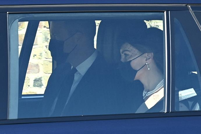 Duchess Catherine and Prince William arrived by car for the funeral at Windsor Castle.