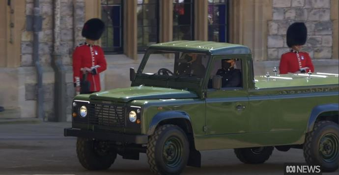 Philip's casket was driven into Windsor in a car designed by the Royal himself.