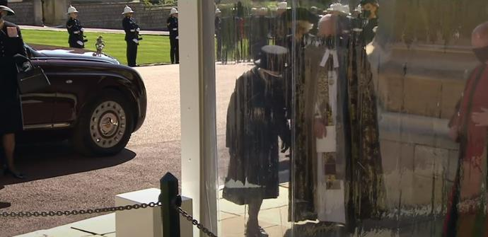 The Queen arrived as the royals marched behind the coffin.