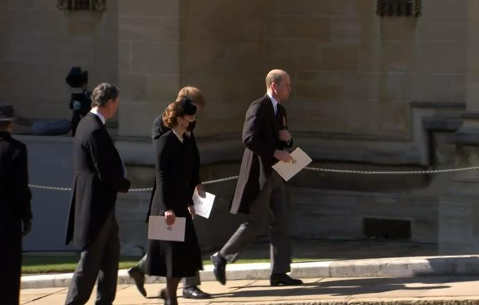Kate exited the chapel alongside Harry and William.