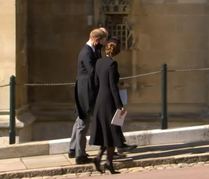 Harry, William and Kate walked and chatted together following Philip's funeral.