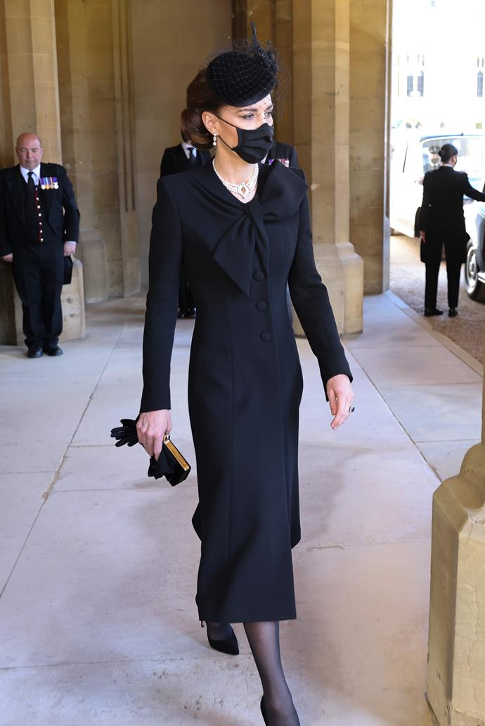 """The Duchess of Cambridge wore a [classic Roland Mouret dress](https://www.nowtolove.com.au/royals/british-royal-family/kate-middleton-prince-philip-funeral-67385