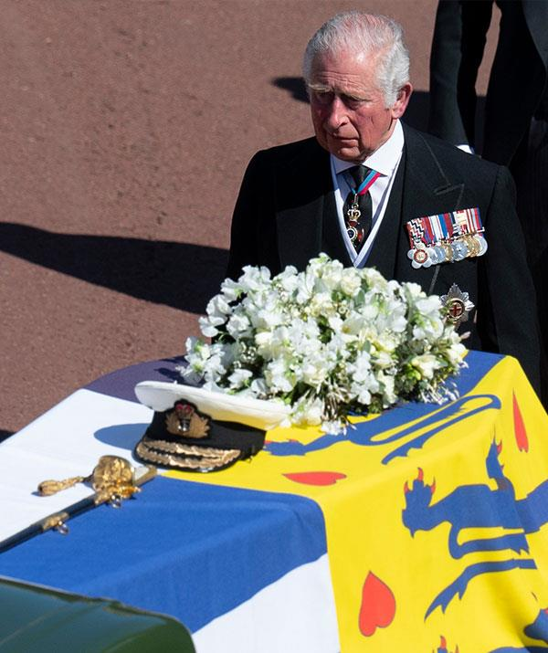 """[Leading the funeral procession](https://www.nowtolove.com.au/royals/british-royal-family/prince-philip-funeral-photos-67383