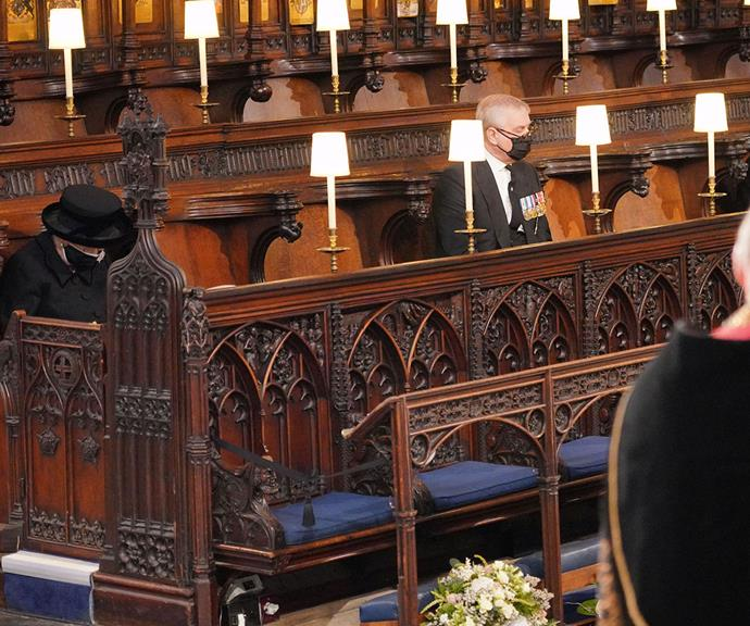 Due to the current COVID-19 guidelines, The Queen was unable to sit directly next to anyone in the pews. Her son Prince Andrew was close by.