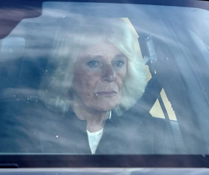 Duchess Camilla looked downcast as she arrived for the funeral.