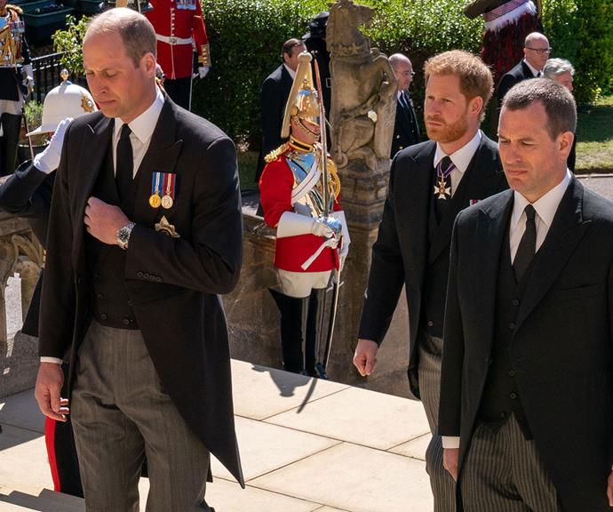 """A melancholy Prince William, Prince Harry and Peter Phillips [walked together during the funeral procession.](https://www.nowtolove.com.au/royals/british-royal-family/prince-philip-funeral-photos-67383