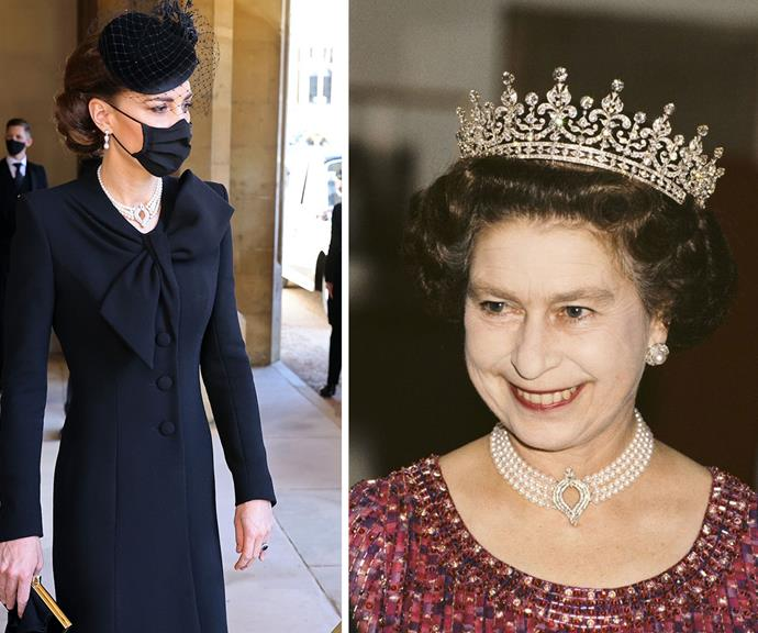 Duchess Catherine's stunning pearl necklace was from The Queen's personal collection.