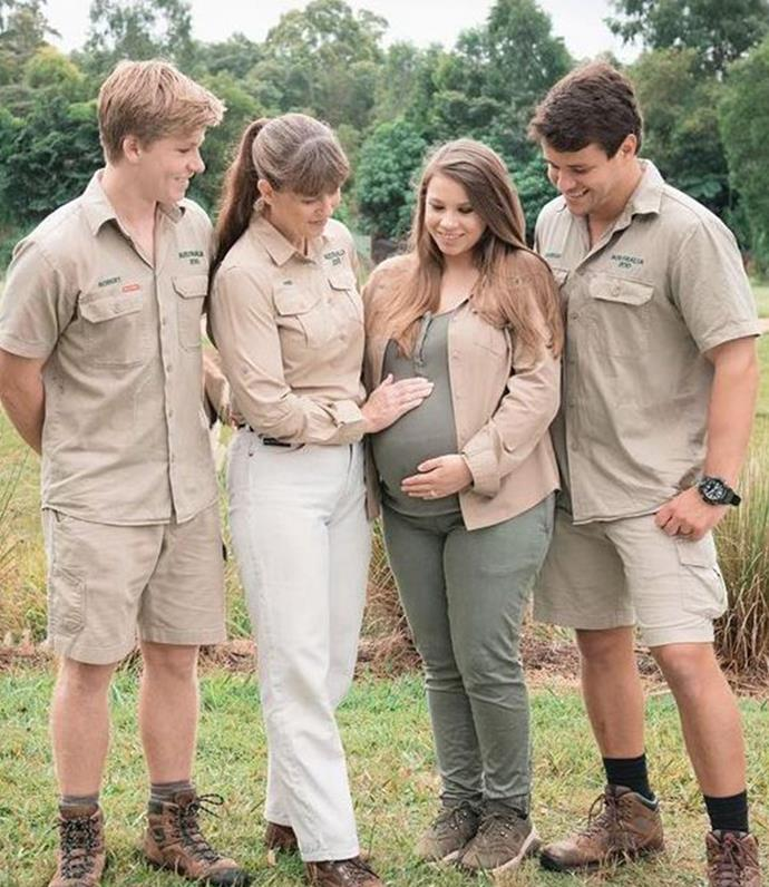 The Irwin family when they were expecting.