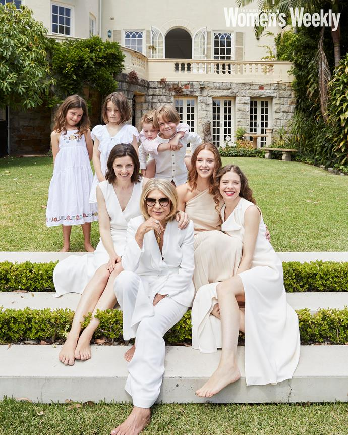 Carla with her daughters, Allegra (left) and Bianca (right), and her adoring grandchildren (from left): Arietta, Octavia, Rafferty, Florian and Brigid (second from right).