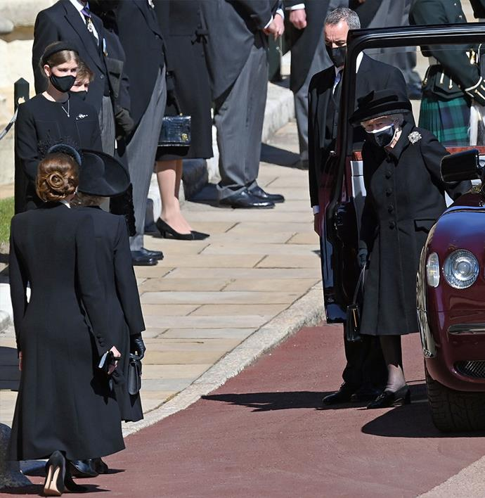 "[Duchess Catherine showed her respect to The Queen](https://www.nowtolove.com.au/royals/british-royal-family/kate-middleton-prince-philip-funeral-67385|target=""_blank"") ahead of Prince Philip's funeral by bending down into a deep curtsy."