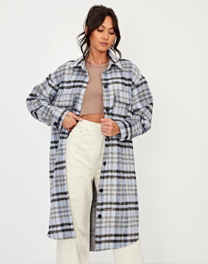 "Like shirts? Like Jackets? The answer is here in the form of the trending shacket. Glassons have the style down pat - embrace the cosiness of a jacket but with the casual, comfy flexibility of a shirt. This one's $99.99. **[Buy it online here](https://www.glassons.com/longline-check-shacket-cl48041chk-blue-check|target=""_blank""