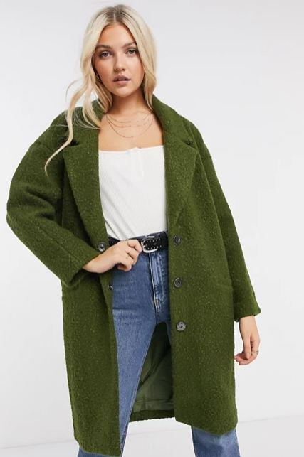 "What the humble teddy coat was for 2019, boucle coats are for 2021. Chic as all hell and *just* the right amount of texture to get that cosy feel. We're particularly enamoured with this olive Liquorish design, $136 (on sale). **[Buy it online via ASOS here](https://www.asos.com/au/liquorish/liquorish-fluffy-straight-coat-in-olive/prd/21592162|target=""_blank""