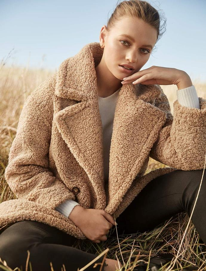 "We all love a bit of borg in our lives - similar to shearling jackets, they're like pulling a welcome giant blanket over you, all while looking super stylish. Forever New created our dream borg coat for the winter ahead. $169.99. **[Buy it online here](https://www.forevernew.com.au/bella-borg-coat-268188?colour=biscuit|target=""_blank""