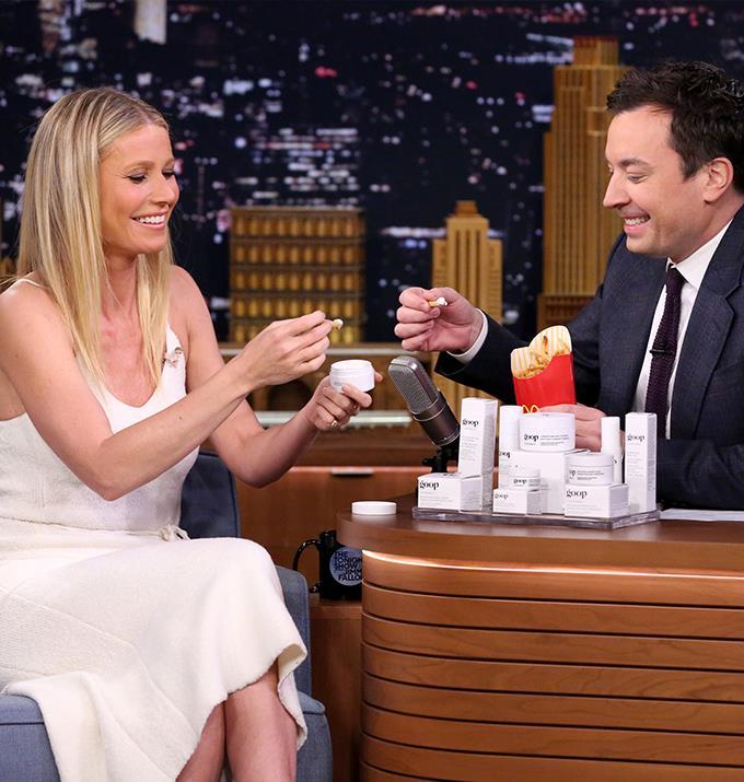 Gwyneth Paltrow enjoying fries on Jimmy Fallon.
