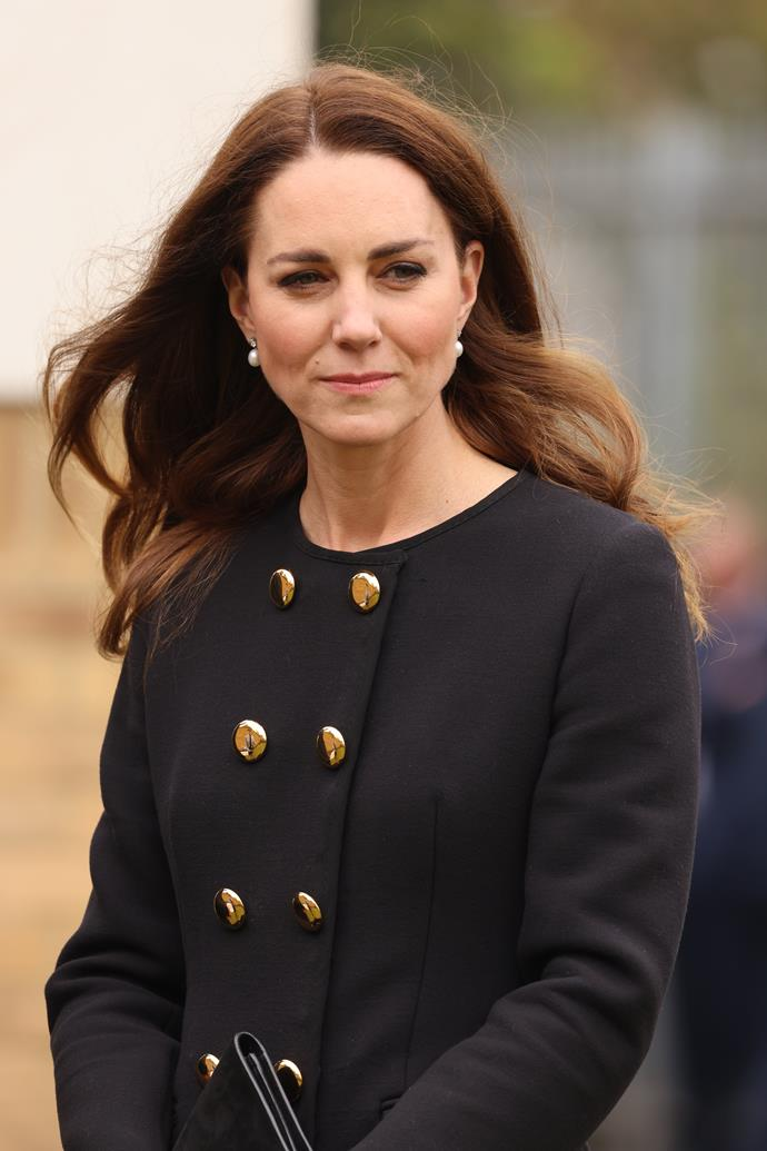 The Duchess wore black as the family remains in mourning for Prince Philip.