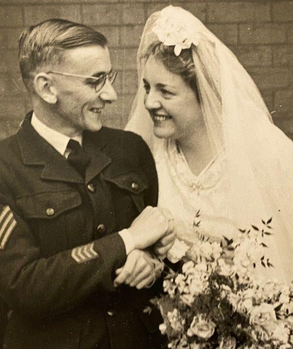 Coral and Sandy on their wedding day in 1945.