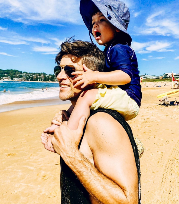 """Beach boys! <br>  """"A perfect Aussie long weekend with our extended family and some mates and more kids all in one house,"""" Osher wrote."""