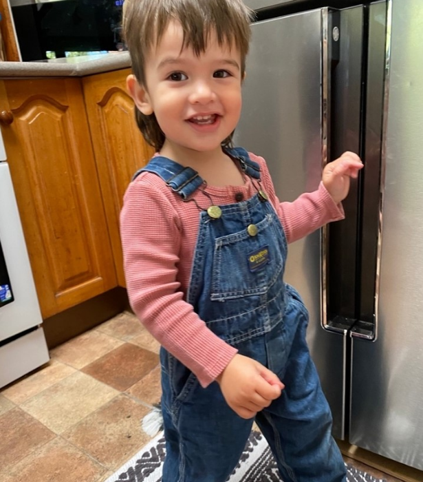 """""""Pretty sure Wolf has access to a time machine,"""" Osher captioned this cute snap. """"I mean how else could you explain the totally radical mullet, the sick Reeboks and original Osh Kosh B'Gosh overalls originally worn by his Uncle Josh in California in 1983?"""""""
