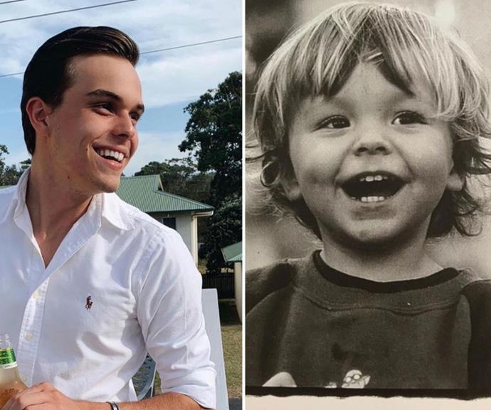 Now and then: Ali shared this sweet comparison of her son.