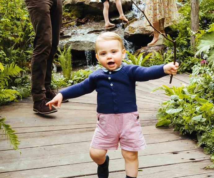 And just like that, he started walking! In 2019, the Cambridges shared several new family shots of the young royal enjoying mum Duchess Catherine's Chelsea Flower Show garden.