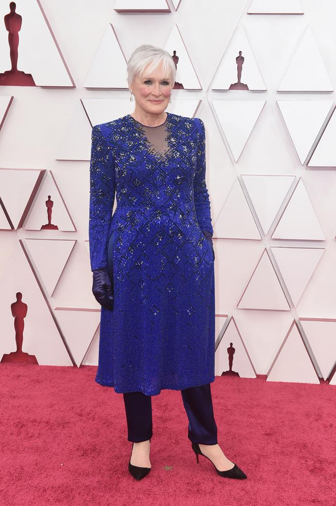 74-year-old Glenn Close looked regal in blue.