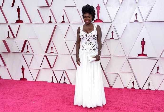 Stunning Viola Davis also glowed in a gorgeous white design.