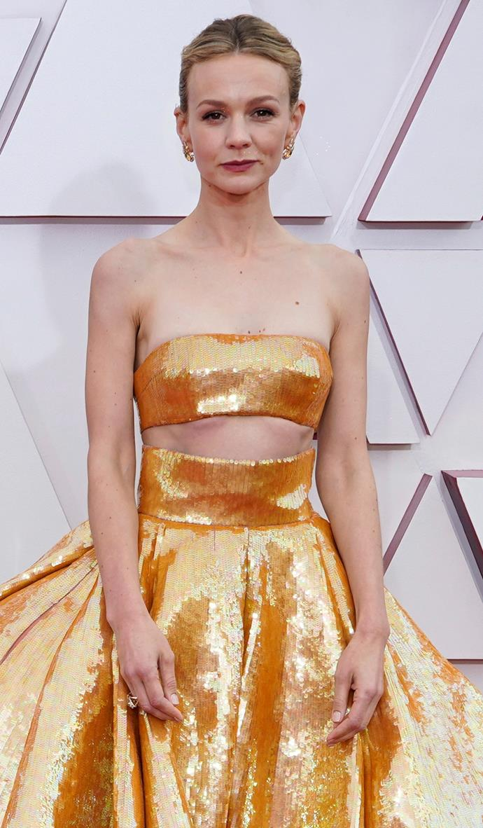 A close up look - the orange-gold sequin design is destined for a place in the Oscars red carpet hall of fame.