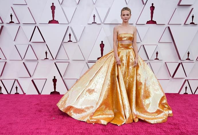 Let's start with the golden girl herself - literally - Carey Mulligan. The Best Actress nominee opted for this stunning two-piece Valentino design.