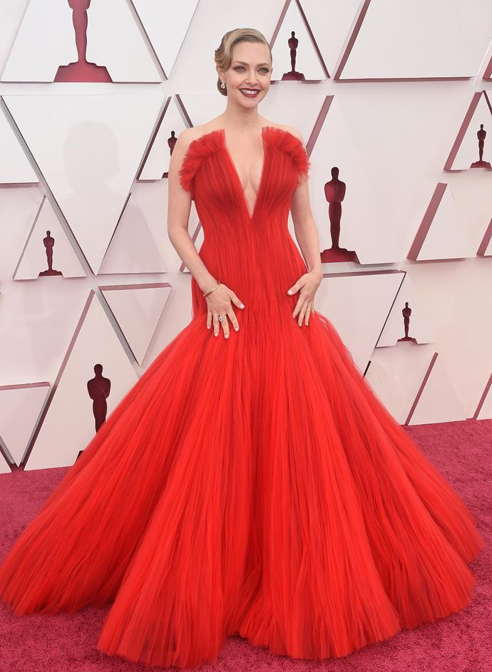 The beautiful Amanda Seyfried was a red siren in this tulle-clad design.