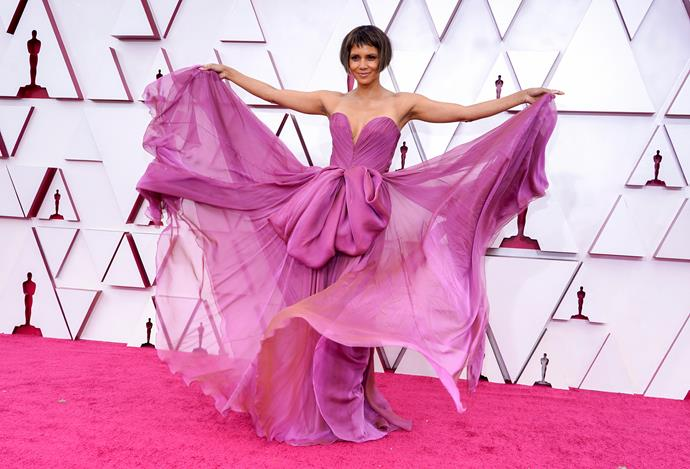 Excuse us as we talk about this chic pink design worn by Halle Berry forevermore and into eternity.