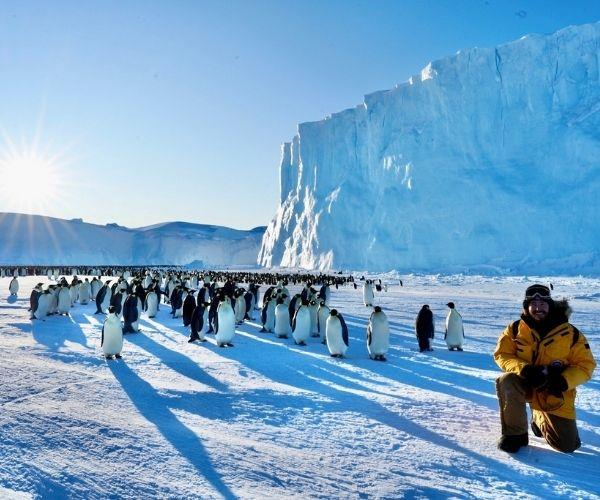 With the Emperor penguins.