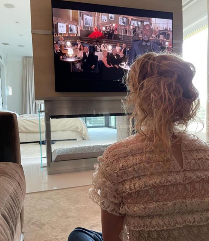 Nicole watching the 2021 Oscars.