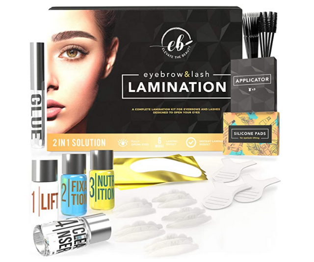 """**Elevate** <br><br>  With great reviews not just from everyday beauty fanatics but beauty editors, we're immediately adding to cart.   <br><br>  **Elevate The Beauty Eyebrow And Lash Lamination Kit, $61.86, [shop it on Amazon here.](https://www.amazon.com.au/Elevate-Beauty-Eyebrow-Lamination-Professional/dp/B07YX66BD3/ref=sr_1_3?dchild=1&keywords=brow+lamination&qid=1619490577&sr=8-3